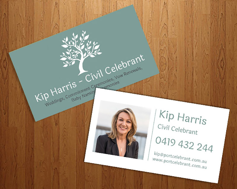 A new logo and business cards for a civil celebrant web design we have just designed and created a new logo for kip harris civil celebrant the colour scheme was actually designed to match the colour of the clients reheart