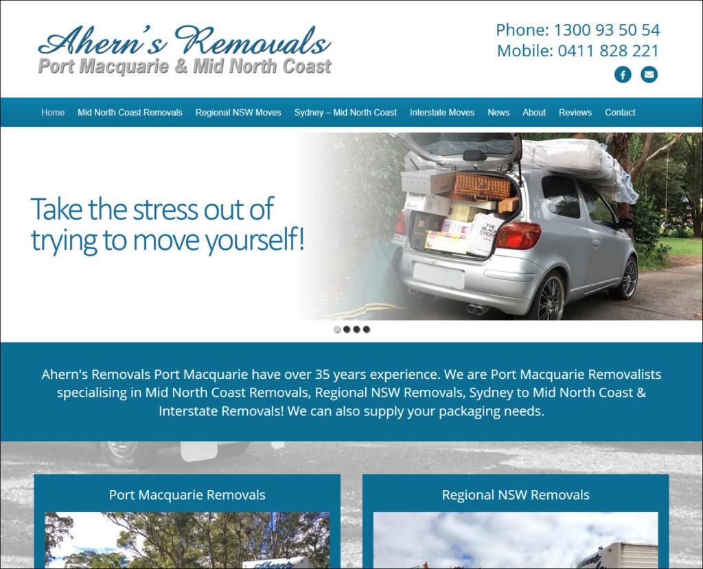 Ahern's Removals Port Macquarie have a new website - Web design Port